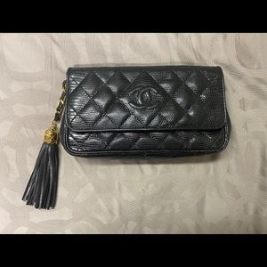 Authentic Vintage Chanel Lizard Clutch